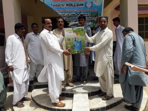 Distribution of Hand battery sprayers to farmers of FFS under SIAPEP, at free of cost.  District N. Feroze