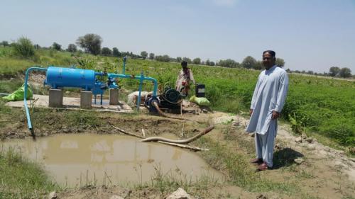 11  acres drip installed  on banana & cotton intercropped  on the farm of Jaam Shahzore near kazi Ahmed .