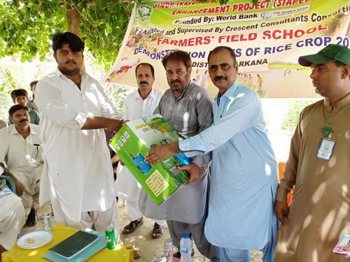 FFS session & visit Demo Plot of Rice Crop and W.c at 8 L Nabi Bux Minor, Larkana on 27.7.2019